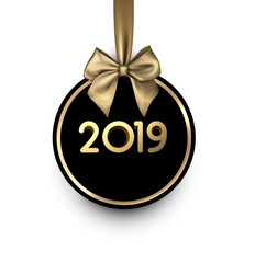 White and black 2019 New Year card with gold satin bow.