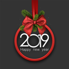 Grey 2019 happy New Year background with red round frame and bow.