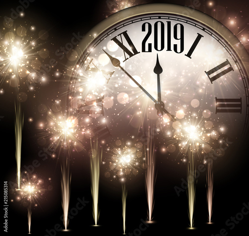 """Shiny 2019 New Year background with clock and fireworks ..."