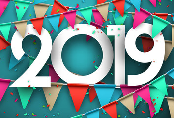 Festive 2019 new year card with colorful flags.