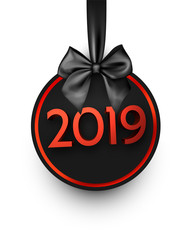 White and red 2019 New Year card with black satin bow.