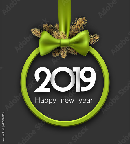 grey 2019 happy new year background with green round frame and bow