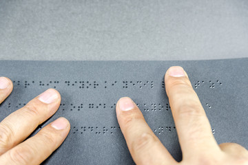 Top view of book in braille alphabet