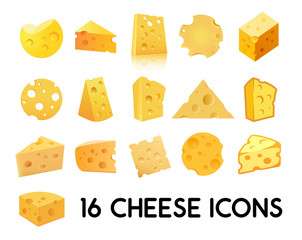 Cheese Icon Set isolated on white background. Vector illustration in EPS 10.