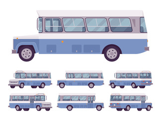 Blue retro bus