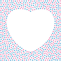 Heart shaped background made of colored baby blue and baby pink dots. Empty space and heart area on  white background for additional text. Made of randomly placed little spots. Illustration. Vector.
