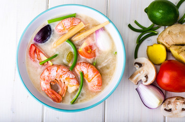 Spicy soup with prawns on coconut milk