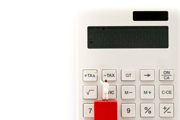 Miniature people : worker  with  Calculator button of tax, business concept.