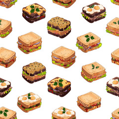 Pattern of vector colorful illustrations on the fast food theme; set of different kinds of sandwiches. Pictures contain realistic shadows and glare.
