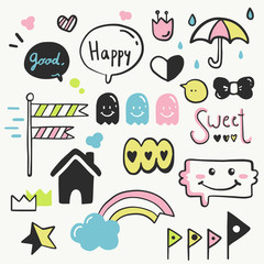Cute Doodle. set of hand doodle objects.