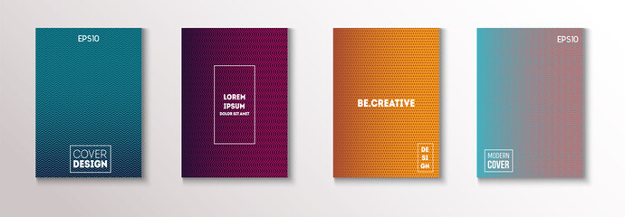 Minimal Covers, Vector Hipster Abstract Brands Design. Magenta, Cyan, Yellow Corporate Identity Blend Tech Halftones. Business Minimal Covers, Cool Retro Ad Music Party Poster Bright Gradient Stripes.