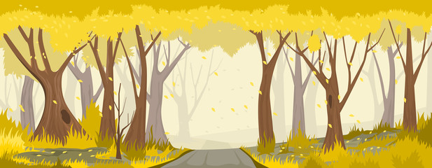 Autumn forest with road. vector backround