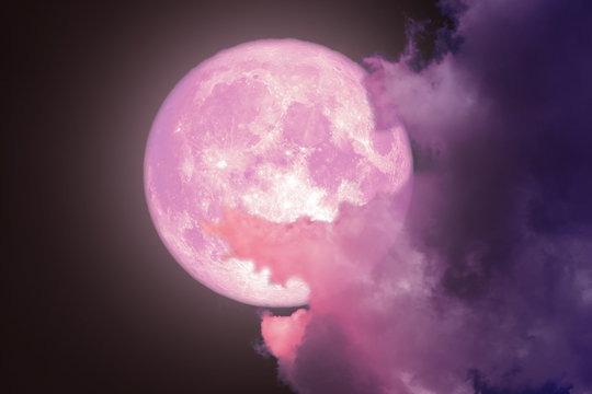 super full pink moon back silhouette night sky