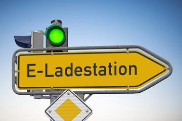 Wegweiser, E-Ladestation