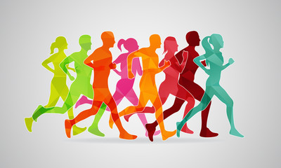 Running marathon. Vector illustration