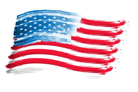 watercolor flag USA for national holidays, vector illustration