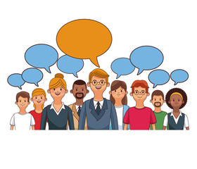 People with blank speech bubbles cartoons vector illustration graphic design