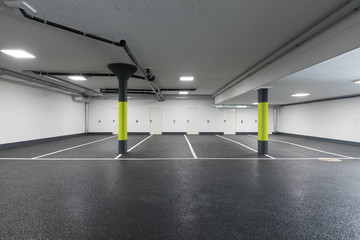 Empty modern car parking, new interiors spaces, nobody Fototapete