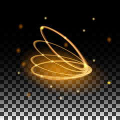 Gold ring glowing with the reflections on the transparent background. Vector illustration for design.
