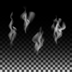 Smoke or fog is set on a transparent background. Illustration abstract background.