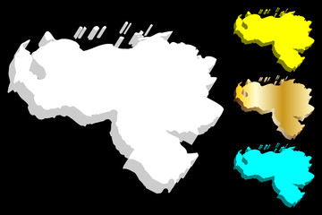 3D map of Venezuela (Bolivarian Republic of Venezuela) - white, yellow, blue and gold - vector illustration