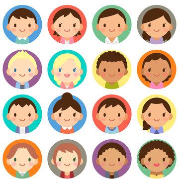 世界の人々 人種 男女 顔 かわいい フラット 丸アイコン セット