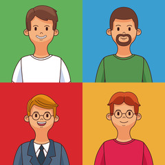 Set Young mens profile cartoon in colorful square frames vector illustration graphic design