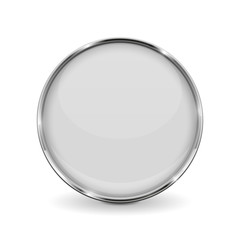White round glass button with metal frame