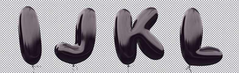 Black balloon alphabet I,J,K,L made of realistic metallic air balloon 3d rendering. Collection of brilliant balloons letter with Clipping path ready to use for your unique font Halloween & more design