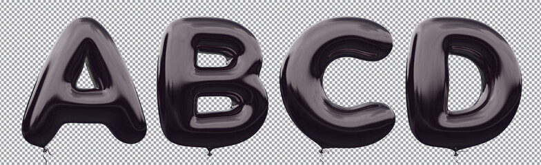 Black balloon alphabet A,B,C,D made of realistic metallic air balloon 3d rendering. Collection of brilliant balloons letter with Clipping path ready to use for your unique font Halloween & more design