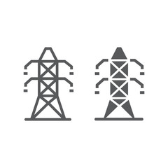 Electric tower line and glyph icon, ecology and energy, electricity sign, vector graphics, a linear pattern on a white background, eps 10.