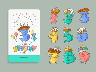 Birthday anniversary numbers cartoon characters with sweet cakes and pies for hats and invitation card template set - cute hand drawn kid b-day banner elements in isolated vector illustration.