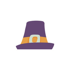 Violet pilgrim hat with wide brim in flat style isolated on white background - man cap with yellow band and metal buckle for traveling or thanksgiving day design in vector illustration.