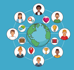 People around the world and social network symbols vector illustration graphic design
