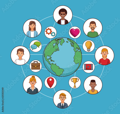 People Around The World And Social Network Symbols Vector