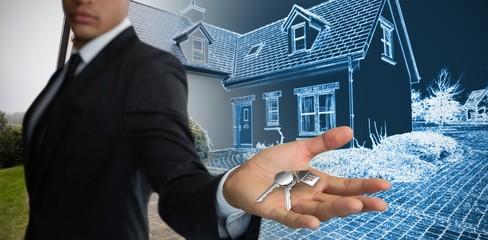 Composite image of confident businessman showing hand against