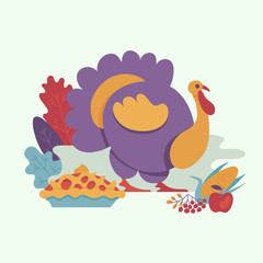 Turkey, thanksgiving pie on background of abstract autumn leaves, berries and apple. Vector cartoon illustration with symbols of thanksgiving set. Sign of autumn, harvest and farming.