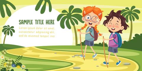 Vector Illustration Of Kid Trekking