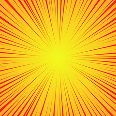 Radial red lines on a yellow background. Comic book speed, explosion. Abstract. Vector illustration for graphic design.