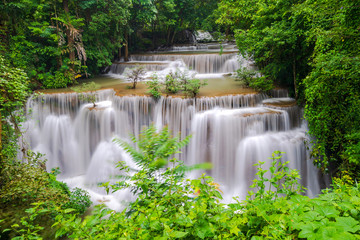 Aluminium Prints Waterfalls Beautiful waterfall in deep forest, Huay Mae Kamin Waterfall in Kanchanaburi Province, Thailand