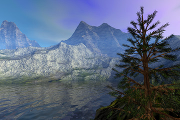 Mountains, a rocky landscape, reflection on water, a coniferous tree and hazy sky.