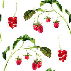 Hand drawn watercolor seamless pattern with raspberry twig and red currant.