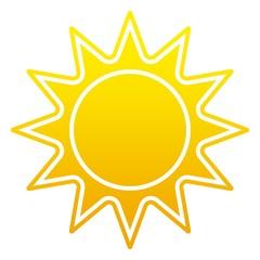 Sonne oder Sonnenschein Symbol mit Zacken als Vektor auf einem weißen isolierten Hintergrund