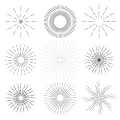 Set of Retro sun rays. Vintage logo, labels, badges. The explosion of fireworks. Vector design elements isolated on white background.