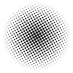 Item halftone circle, on a white background. Vector illustration for your design.