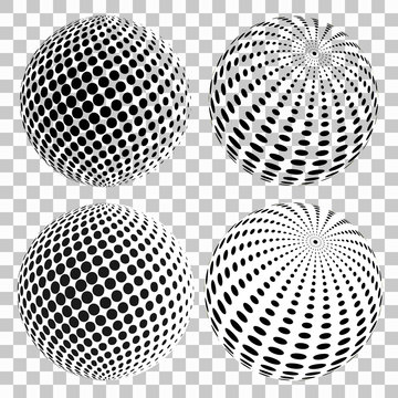 Set of 3D halftone dots spheres, on isolated transparent background. Vector elements for your design.