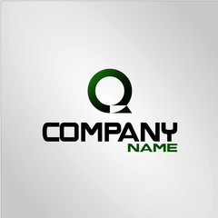 Q logo initial letter sign logo modern concept design black green template vector illustration for company or corporate industry