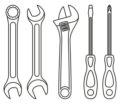 Line art black and white wrench screwdriver set