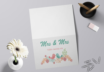Wedding Table Place Card Layout with Two Birds Kissing