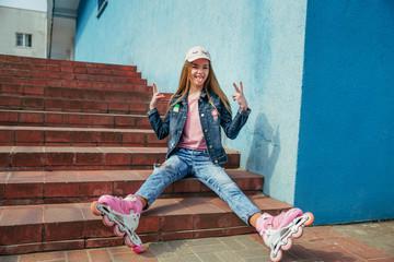 pretty girl on roller skates in city